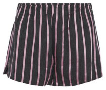 Striped satin and chambray shorts