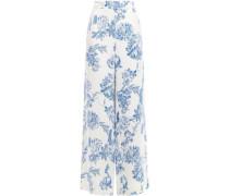 Woman Floral-print Stretch-silk Crepe Wide-leg Pants Azure