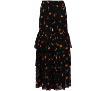 Tiered Floral-print Silk-chiffon Wide-leg Pants Black