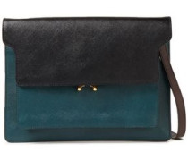 Woman Two-tone Textured-leather Shoulder Bag Forest Green