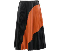 Pleated Two-tone Faux Leather Midi Skirt Black