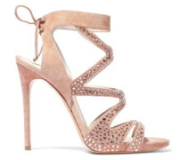 Cutout crystal-embellished suede sandals