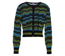 Striped Crochet-knit Cardigan Leaf Green