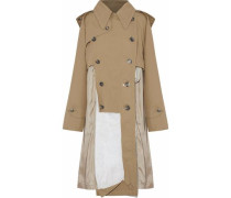 Distressed paneled cotton-twill hooded trench coat