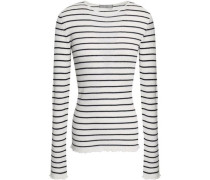 Striped Ribbed Cashmere Sweater White