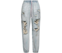 Distressed Faded Boyfriend Jeans Light Denim