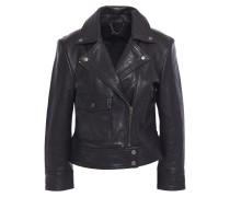 Woman Leather Biker Jacket Black