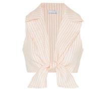 Jill Cropped Tie-front Gingham Linen Top Pastel Orange