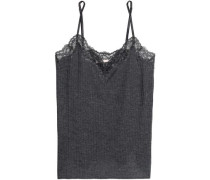 Lace-trimmed ribbed jersey camisole