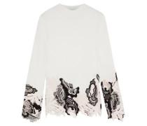 Lace-paneled Metallic Ribbed Wool-blend Sweater Ivory