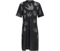 Jacquard-knit Cotton Mini Dress Black