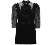 Bow-embellished Swiss-dot Tulle And Wool-crepe Mini Dress Black