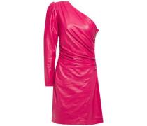 One-shoulder Ruched Leather Mini Dress Fuchsia