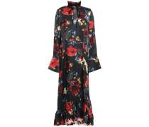 Woman Adelaide Ruffle-trimmed Floral-print Silk-satin Midi Dress Black