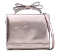 Bow-embellished Metallic Leather Shoulder Bag Rose Gold Size --
