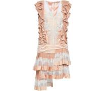 Ruffled Lace-paneled Polka-dot Crepe De Chine Dress Peach Size 0