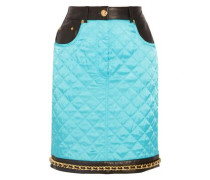 Chain-trimmed leather-paneled quilted satin mini skirt