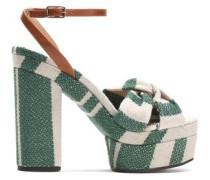 Amaia striped linen and leather platform sandals