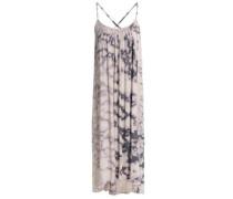 Checked cotton-gauze midi dress