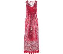 McKenna appliquéd tulle and lace-trimmed floral-print silk-blend midi dress