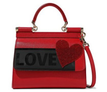 Woman Sicily Medium Appliquéd Printed Textured-leather Shoulder Bag Red