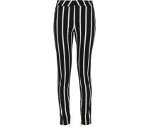 Striped Mid-rise Skinny Jeans Black