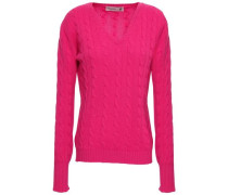 Cable-knit Cashmere Sweater Fuchsia