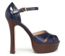 Cutout Leather Platform Sandals Navy