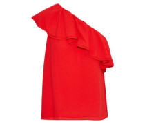 One-shoulder Ruffled Silk-crepe Top Red Size 0