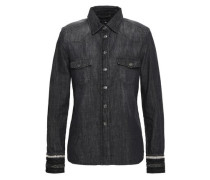 Embroider-trimmed denim shirt