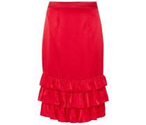 Billi Mac Ruffled Silk-satin Skirt Red
