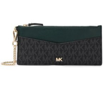 Chain-embellished Logo-print Faux And Leather Wallet Black Size --