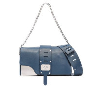 Cutout Leather Shoulder Bag Midnight Blue Size --