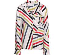 Striped Satin-twill Shirt White