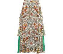 Woman Tiered Silk-jacquard Maxi Skirt White