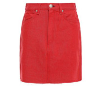 Woman Moss Frayed Denim Mini Skirt Red
