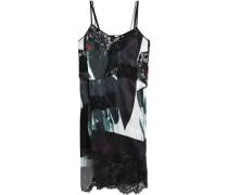 Asymmetric lace-paneled printed satin dress