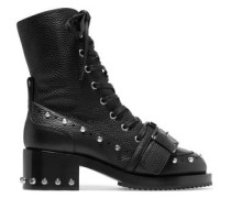Buckled studded textured-leather ankle boots