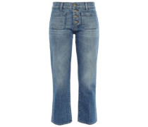 Cropped Mid-rise Straight-leg Jeans Mid Denim  6