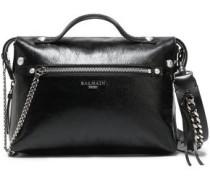 Chain-trimmed Glossed Textured-leather Shoulder Bag Black Size --