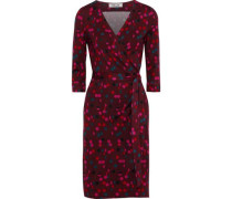 New Julian Two Polka-dot Silk-jersey Wrap Dress Burgundy Size 0