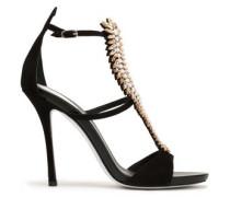 Woman Embellished Suede Sandals Black