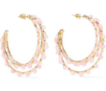 Angola Gold-tone Quartz Hoop Earrings Baby Pink Size --