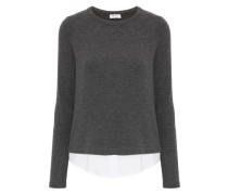 Poplin-paneled knitted top