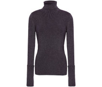 Metallic Ribbed-knit Turtleneck Sweater Purple