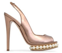 Embellished Metallic Leather Platform Slingback Pumps Rose Gold