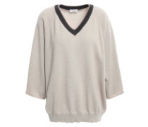 Woman Bead-embellished Cashmere Sweater Sand