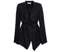 Belted Silk-jacquard Jacket Black