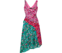 Asymmetric Floral-print Silk Crepe De Chine Dress Bright Pink