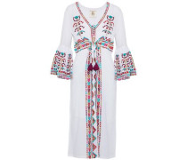 Embroidered cotton-gauze midi dress